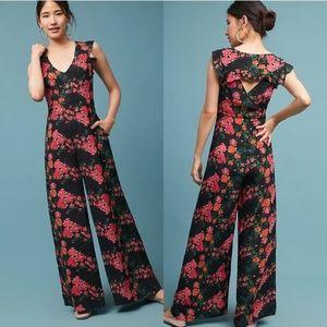 Anthro Laurette Floral-Print Jumpsuit, Black XXSP